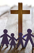 Family and easter cross catholic lifestyle concept abstract