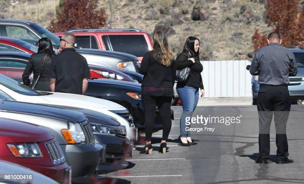 Family and friends arrive at the chapel of the Church of Jesus Christ of LatterDay Saints for the funeral of Heather Lorraine Alvarado on October 13...