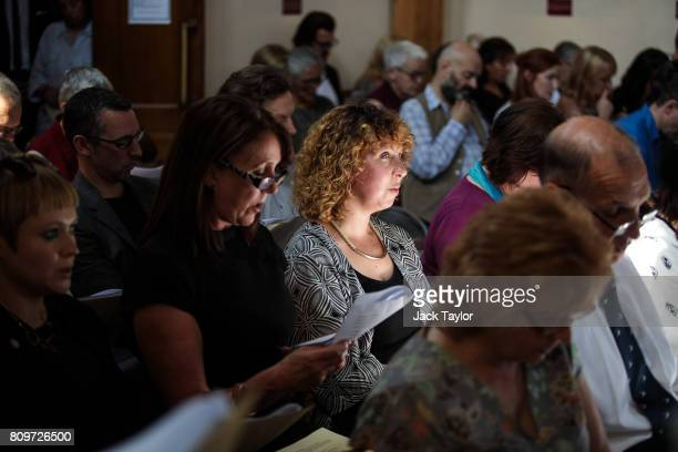 Family and friends attend the funeral of Jon Underwood at the Jamyang Buddhist Centre on July 6 2017 in London England The funeral of Jon Underwood...