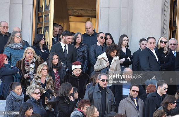 Family and friends attend the funeral service held for Angela 'Big Ang' Raiola on February 22 2016 in New York City 'Mob Wives' reality star Angela...