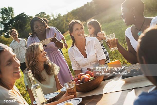 Eine Familie und Freunde zu einer Mahlzeit im Freien ein. Ein Picknick oder buffet
