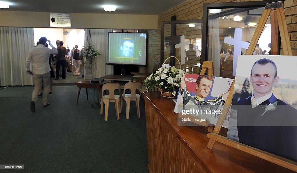 Family and friends of Burry Stander at the Norwegian Settlers Church for the Olympic athlete's funeral on January 10, 2013, in Port Shepstone, South Africa. Burry was laid to rest on a family farm. Burry was hit by a taxi while out on a training ride, he suffered severe head trauma and a broken neck, he was killed on impact. The taxi driver has been charged with culpable homicide.