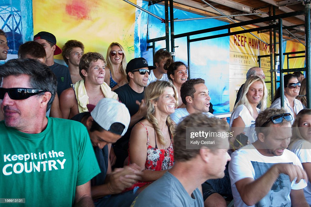 Family and friends of John John Florence of Hawaii cheer for him during the REEF Hawaiian Pro final at Ali'i Beach Park on November 24, 2012 in Haleiwa, Hawaii.