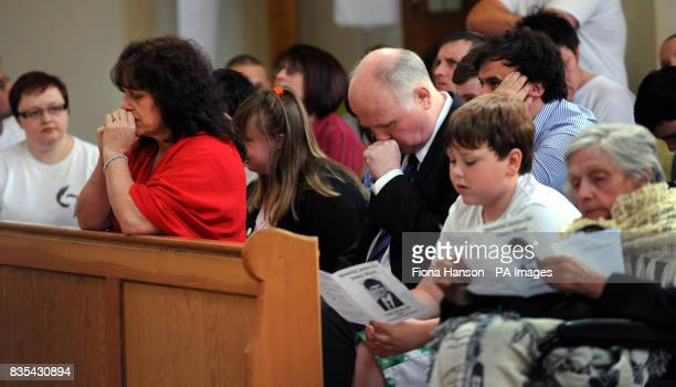 Family and friends of murdered schoolboy Jimmy Mizen during a memorial service to mark the first anniversary of Jimmy's death held at the Our Lady of...