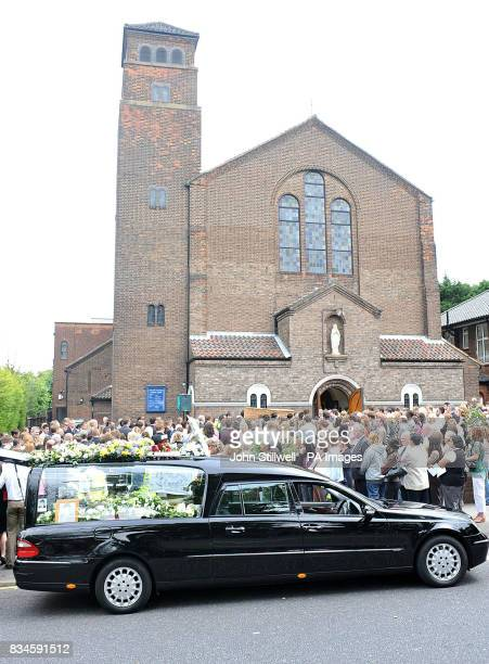 Family and friends of murdered schoolboy Jimmy Mizen gather today for his funeral at Our Lady of Lourdes church in Lee southeast London