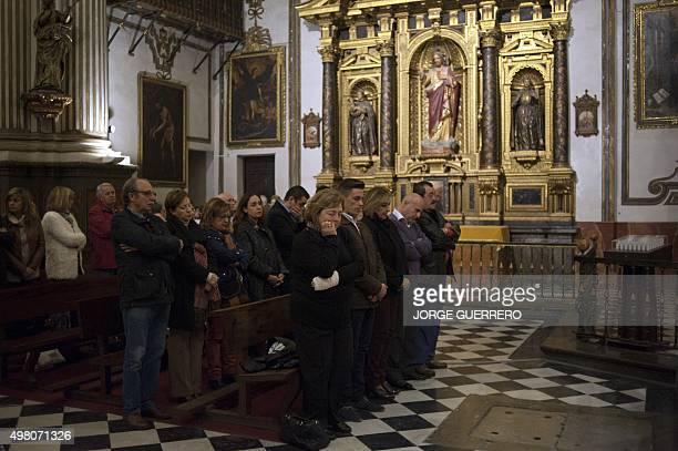 Family and relatives of Juan Alberto Gonzalez Garrido one of the victims of the deadly attacks of Paris attend a mass funeral held in Santos Justo y...