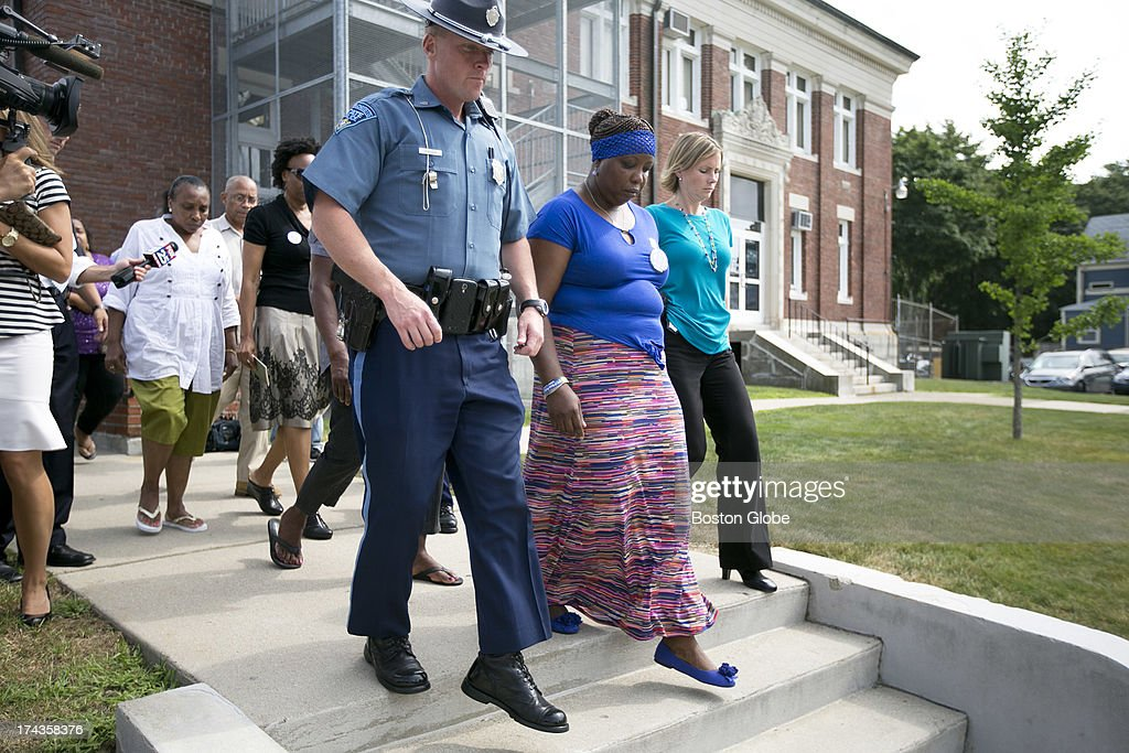Family and supporters of victim Odin Lloyd left the court house without speaking with the media. Former New England Patriots tight end Aaron Hernandez appeared in Attleboro District Court in Attleboro, Mass. on Wednesday, July 24, 2013.