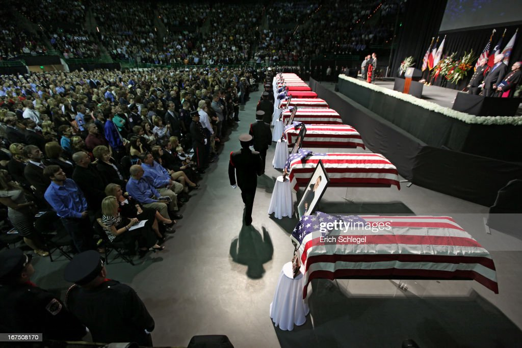 Family, area residents and fellow firefighters attend the West memorial service held at Baylor University April 25, 2013 in Waco, Texas. The memorial service honored the volunteer firefighters that lost their lives at the fertilizer plant explosion in West, Texas last week.