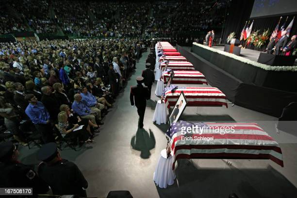 Family area residents and fellow firefighters attend the West memorial service held at Baylor University April 25 2013 in Waco Texas The memorial...