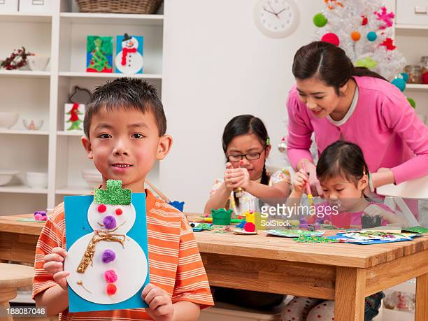 Asian mother and son drawing stock photos and pictures for Family arts and crafts