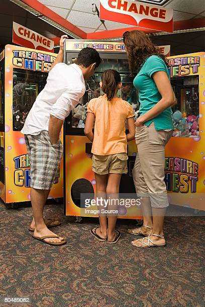 Family at amusement arcade