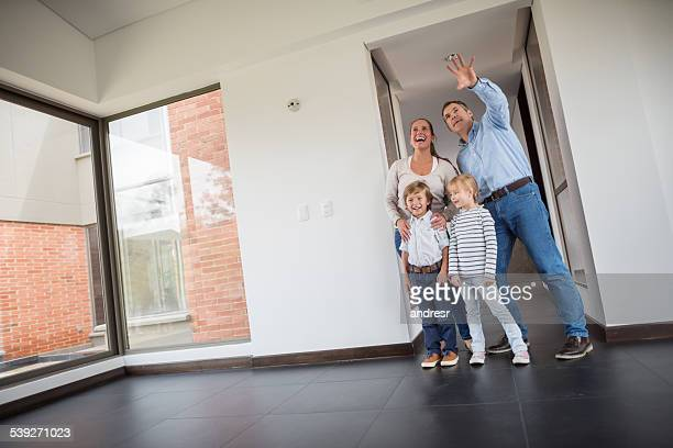 Family at an empty house