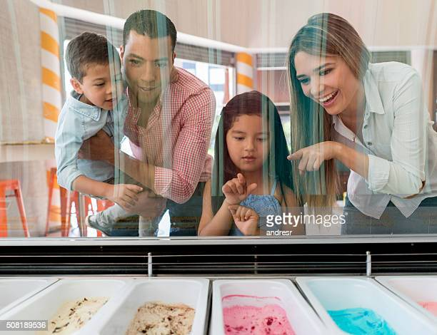 Family at an ice cream shop