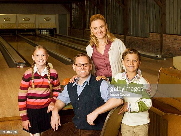 Family at bowling alley