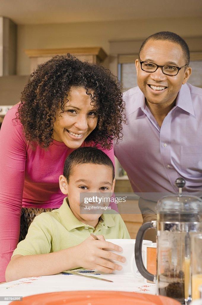 Family at breakfast : Stock Photo