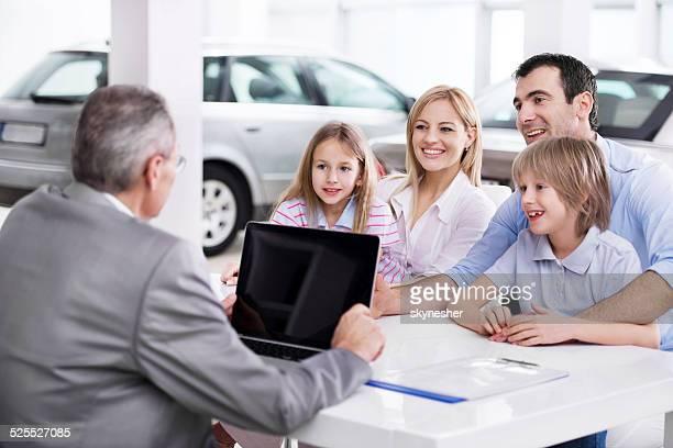 Family at car dealership.