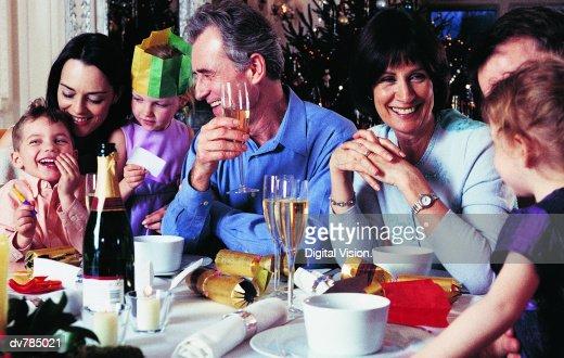 Family at Christmas Dinner : Stock Photo