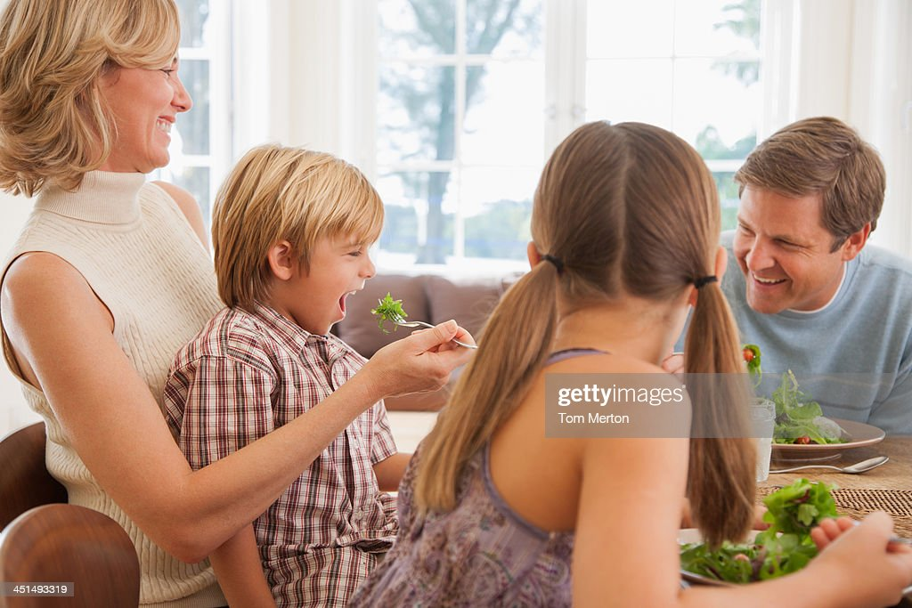 Family at dining room table : Stock Photo