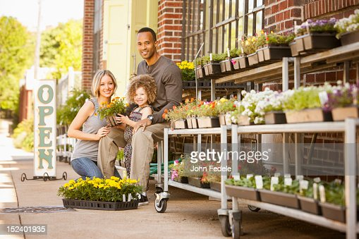 family at florist shop stock photo getty images