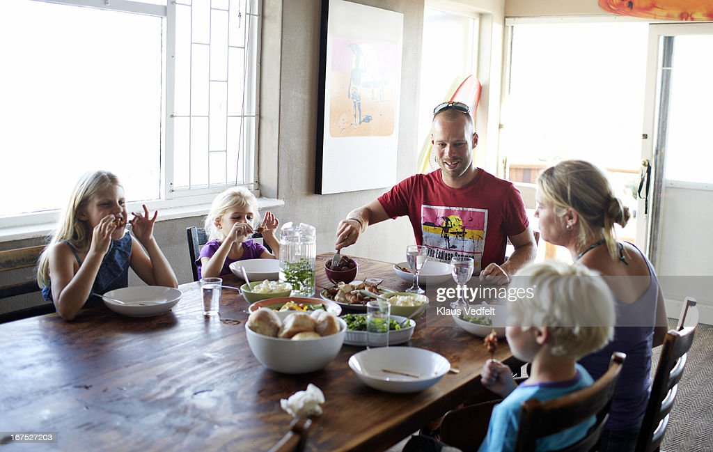 Family at healthy dinner : Stock Photo