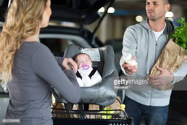 Family at shopping mall with baby