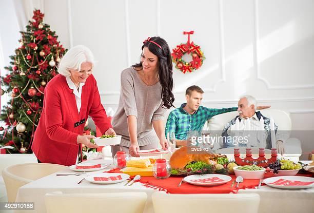 Family at thanksgiving dinner.