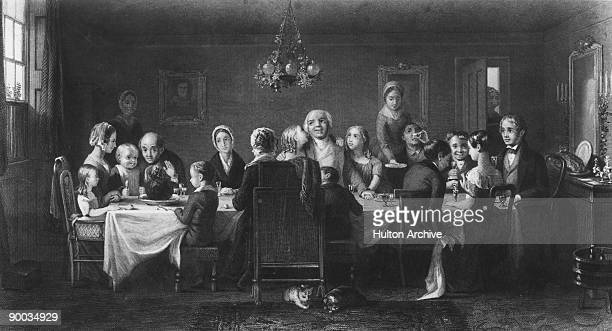 A family at their Christmas dinner circa 1825 Engraving by Ridgway after a painting by Webster