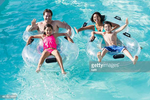 Family at water park on lazy river