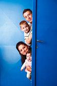 Family behing the doors