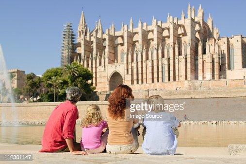 Family by Palma Cathedral, Mallorca : Stock Photo