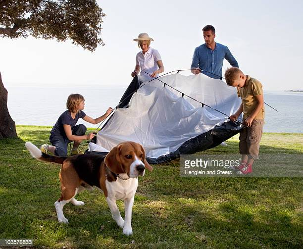 Family camping by the sea