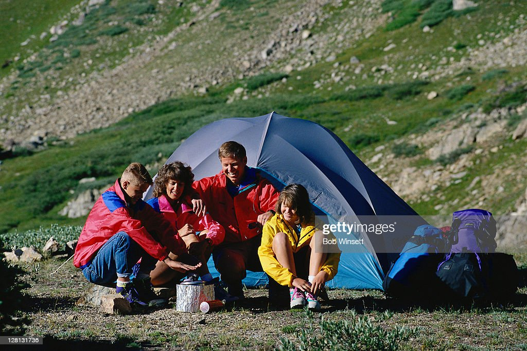 ACTLI055 Family camping, Summit County, CO : Stock Photo