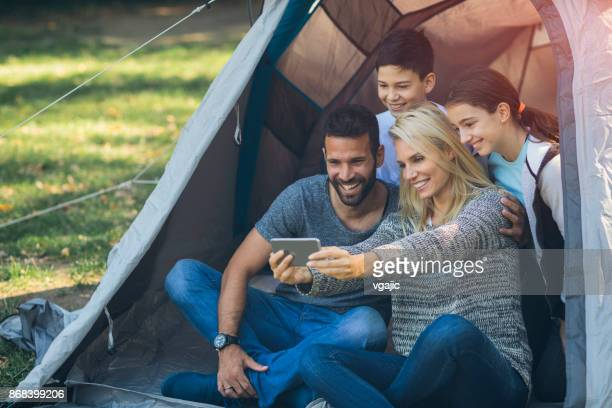 Family camping together