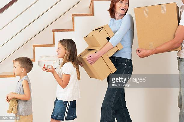 Family carrying boxes