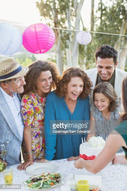 Family celebrating birthday with family