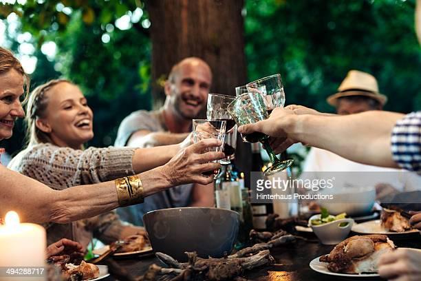 Family Celebrating Garden Party
