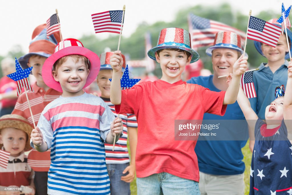 Family celebrating Independence Day together