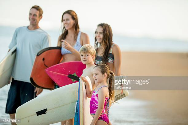 Family Checking the Surf on Vacation