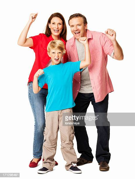 Family Cheering Together - Isolated