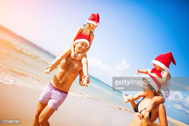 family christmas on a beach