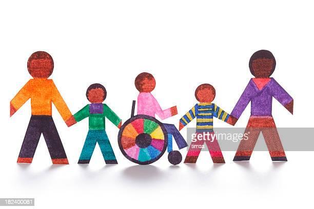 Concetto di famiglia con wheelchair- bambole di carta