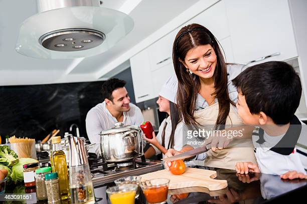 Family cooking dinner together