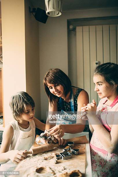 Family cooking together in the morning