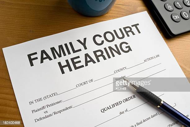 Family Court Hearing Document on a desktop