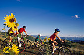 Family cycling on a hilly trail
