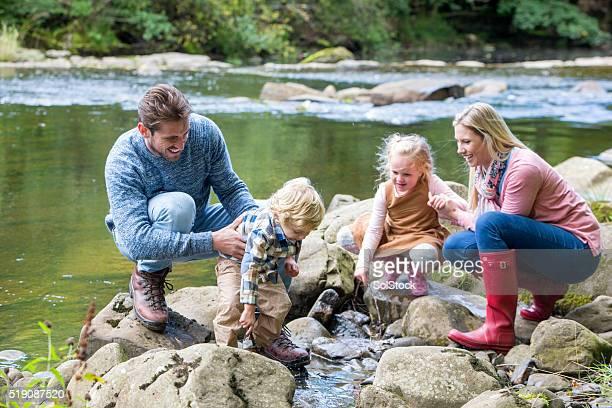 Family day at a lake