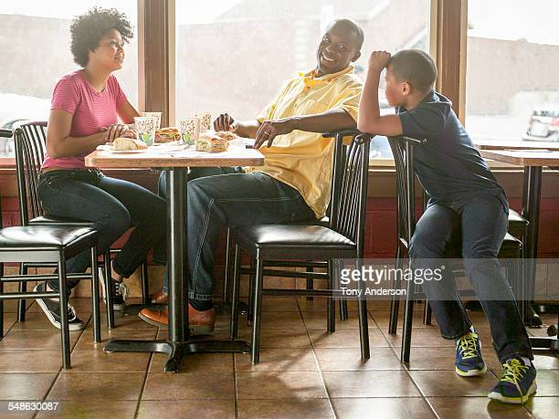 Family dining at fast food restaurant