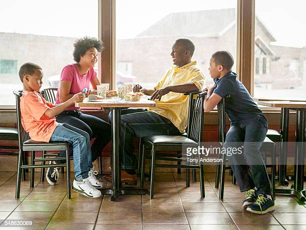 Family dining out at restaurant