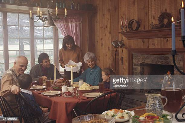 Family dinner in rustic home