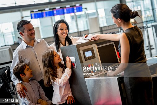 Family doing check-in